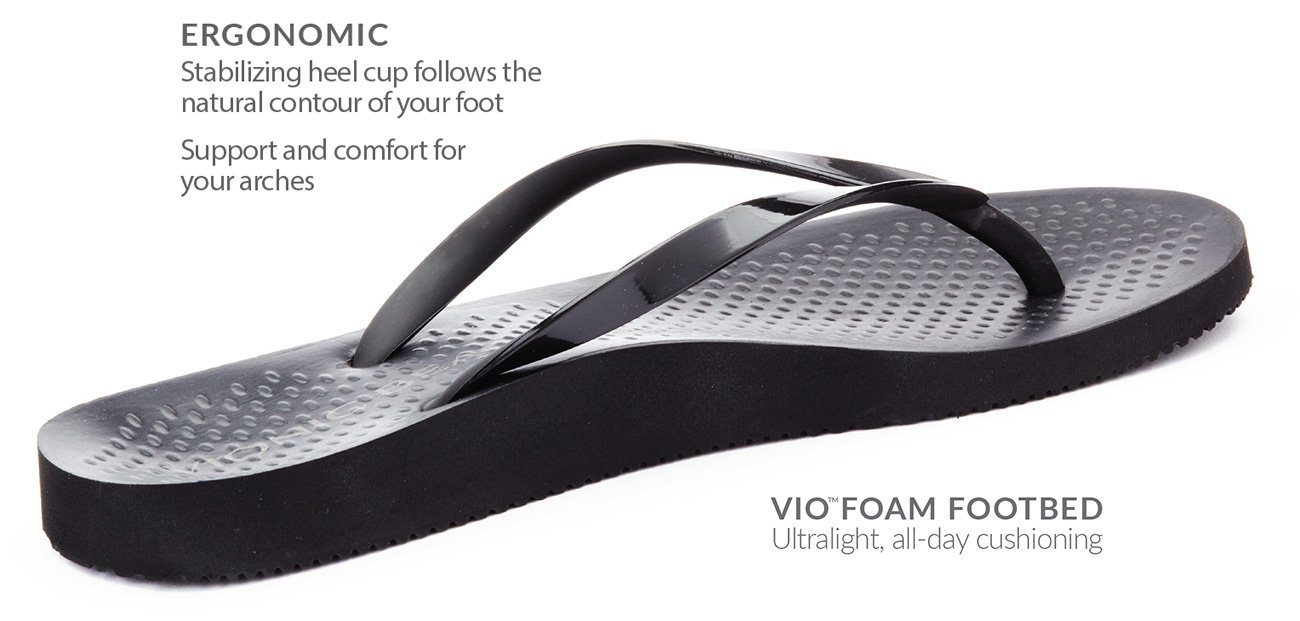 The Flat. Ergonomic Footbed means support and comfort for your arch. Embrace me heel cup stabilizes by following natural the contour of your foot. Ahh cushioning so your foot doesn't stress out.