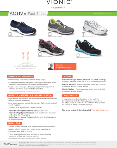 Vionic Active Shoes Fact Sheet