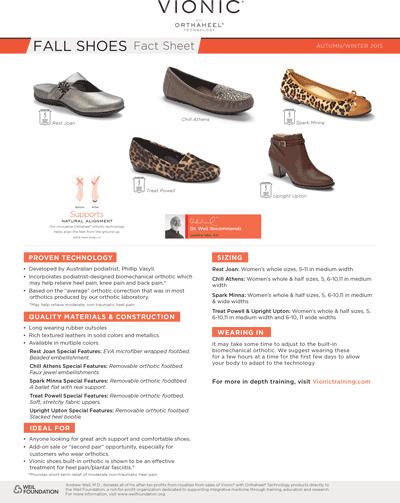 Vionic Fall Shoes Fact Sheet