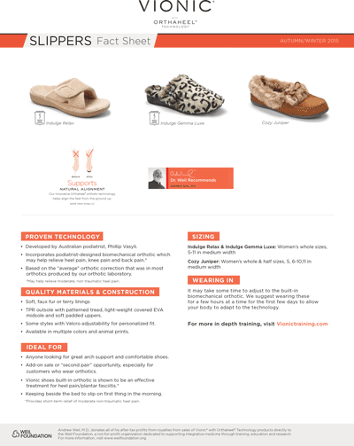 Vionic Slippers Fact Sheet